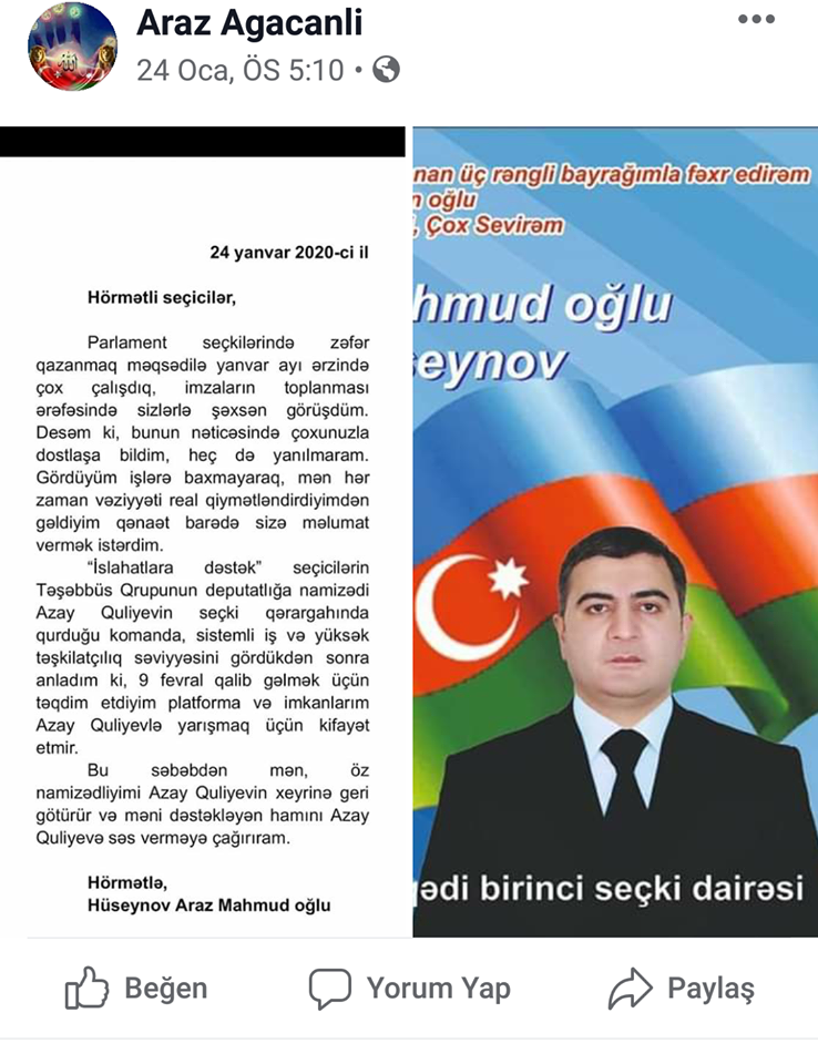Araz Hüseynov namizədliyini Azay Quliyevin xeyrinə geri götürdü - FOTO