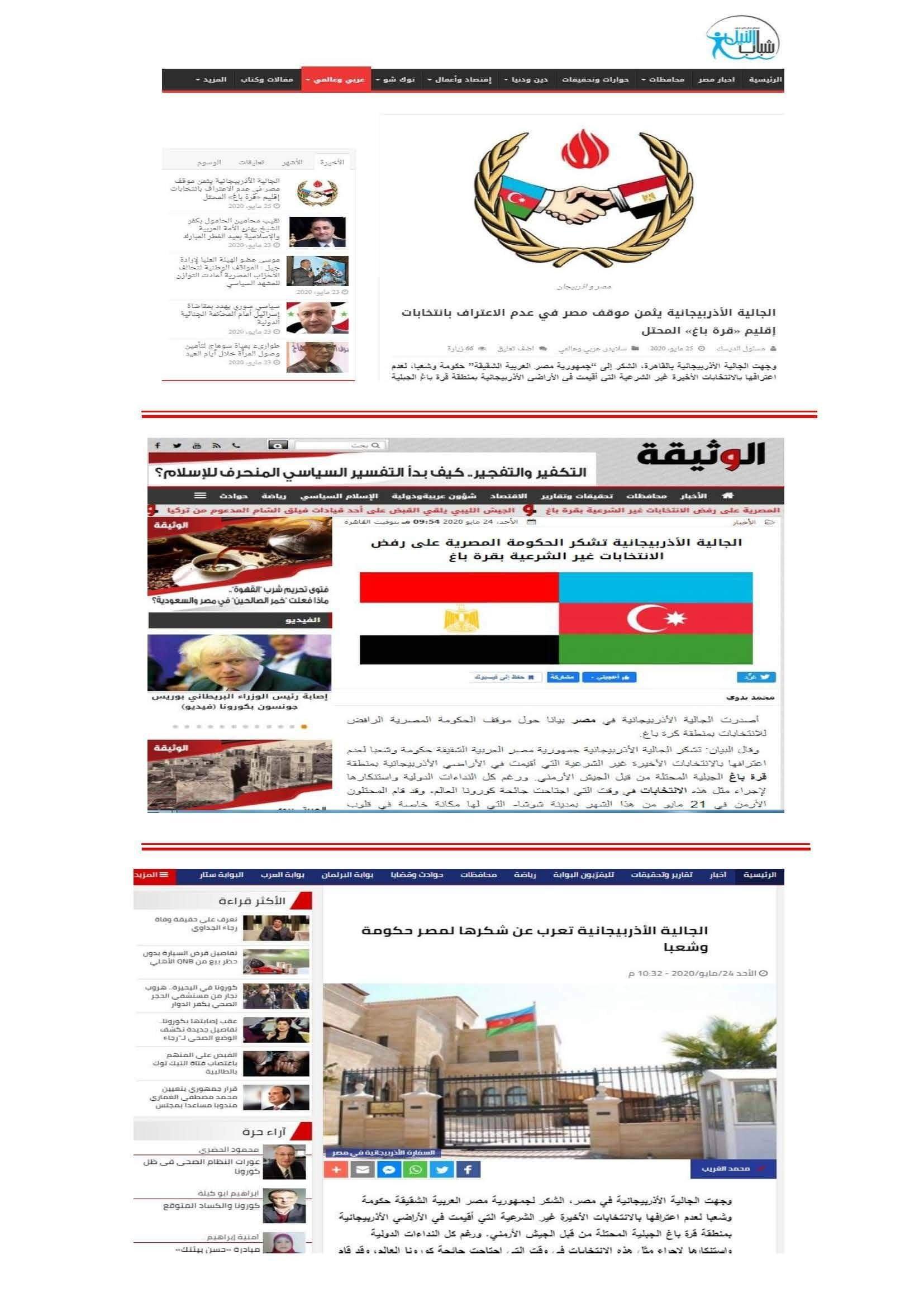 Misirdə Azərbaycan diasporunun bəyanatı geniş şəkildə dərc olundu