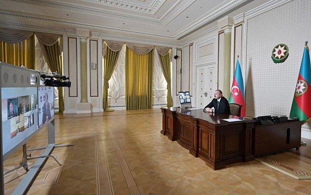 İlham Əliyev videokonfransa qatıldı - Foto